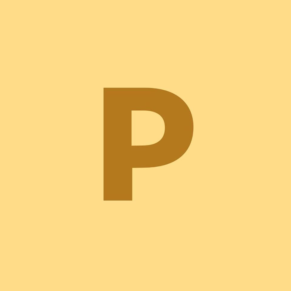 Lettre P sur fonds jaune orangé
