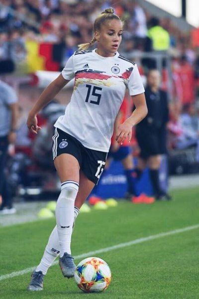 Giulia Gwinn, l'auteure de l'unique but de l'Allemagne contre la chine lors du 1er match de la poule B à la coupe du monde féminine 2019 en France