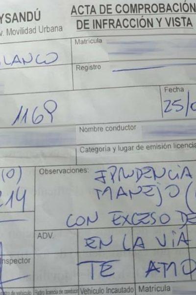 Le PV signé par le policier uruguayen