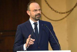 Edouard Philippe lors d'une conférence de presse en juillet 2019 à Bastia (Corse).