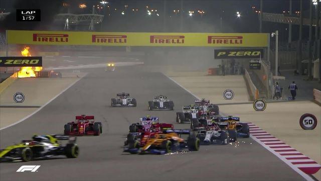 Lors du GP de Bahreïn dimanche, Romain Grosjean est miraculeusement sorti sain et sauf de l'incendie de sa monoplace après un terrible accident au départ du GP de Bahreïn.